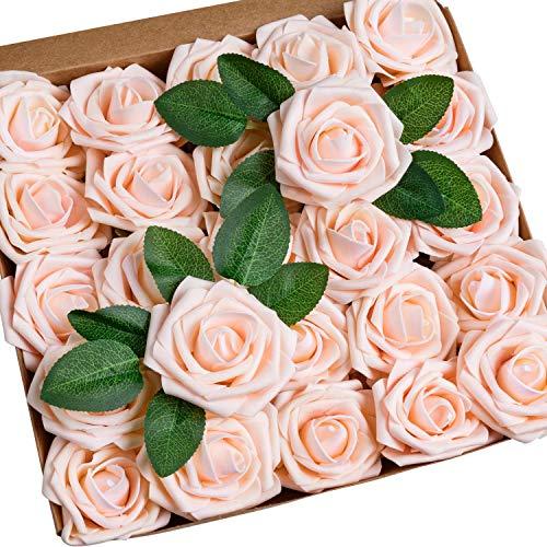 Wisolt Künstliche Blume Rose, 30Pcs Echt aussehende Kunstblumen Schaum Rosen mit langem Stiel und 5 Blätter für Brautsträuße, Hochzeit Mittelstücke, Baby-Dusche, DIY Home Office Party Decor (Rosa)