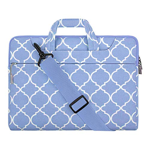 MOSISO Laptop Shoulder Bag Compatible with 2019 MacBook Pro 16 inch Touch Bar A2141, 15-15.4 inch MacBook Pro Retina, Notebook, Canvas Geometric Pattern Briefcase Sleeve, Serenity Blue Quatrefoil