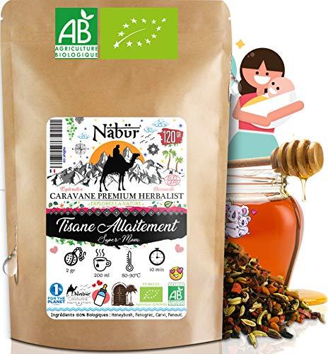 Nabür - Tisane Allaitement N°1 BIO 120 Gr ⭐ 4-en-1 ⭐ Tisane Fenouil, Carvi, Fenugrec, Honeybush ⭐ Coliques, Favorise la lactation, Sans théine, +60 Tasses