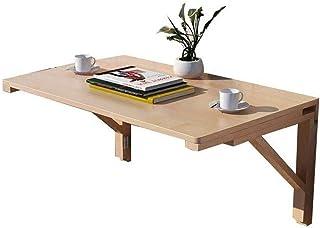 TONINI Montado en la pared Pliegue hacia abajo la tabla pequeño ahorro de espacio de escritorio flotante madera sólida p...
