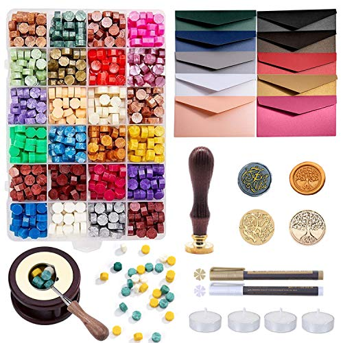 Sealing Wax Kits, 643pcs Wax Seal Beads with Gift Box, Wax Seal Stamp, Melting Furnace, Melting Spoon, Envelopes/Tealight Candles/Wax Stamp/Metallic Pen for Envelope Stamp (A)