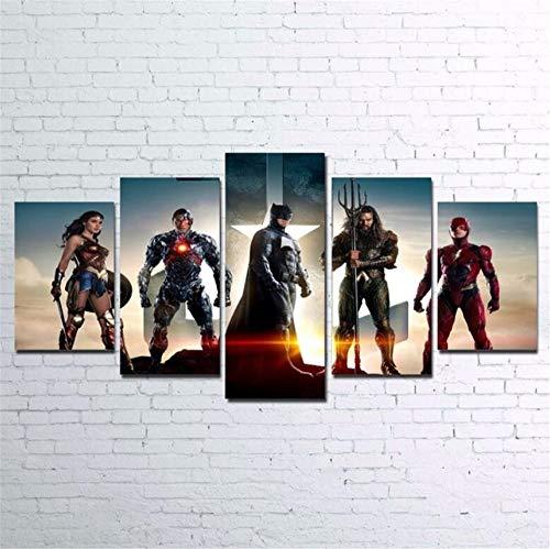 ZKPWLHS ImpresionessobreLienzo,Wonder Woman Bat HD Impreso Lienzo Pintura 5 Piezas Aquaman Flash Cyborg con Marcos