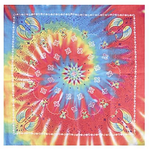 Tie Dye Bandana 1960s Hippie Rainbow Colorful Paisley Cotton
