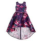 Amy Byer Girls' Hi-Low Fit and Flare Dress, Purple/Fuchsia Painted Floral, 12