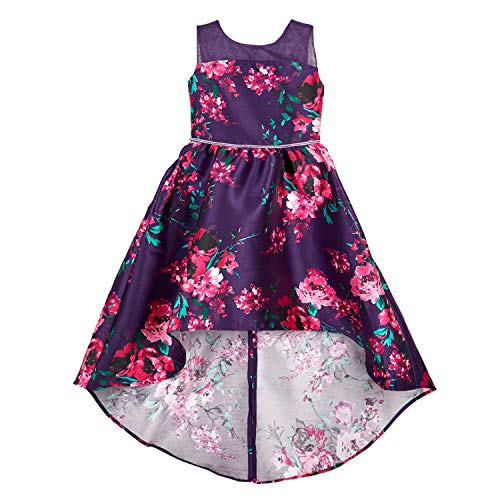 Amy Byer Girls' Hi-Low Fit and Flare Dress, Purple/Fuchsia Painted Floral, 10