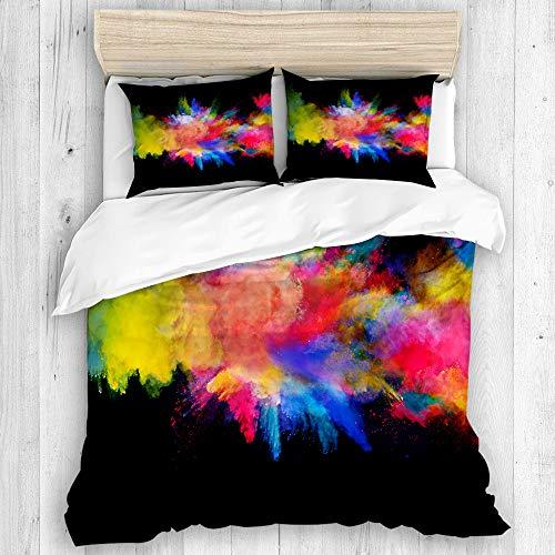 JOSENI Bettwäsche-Set,Mikrofaser,Blaue Farbexplosion des farbigen Pulvers auf gelbem Spritzen,1 Bettbezug 240x260 + 2 Kopfkissenbezug