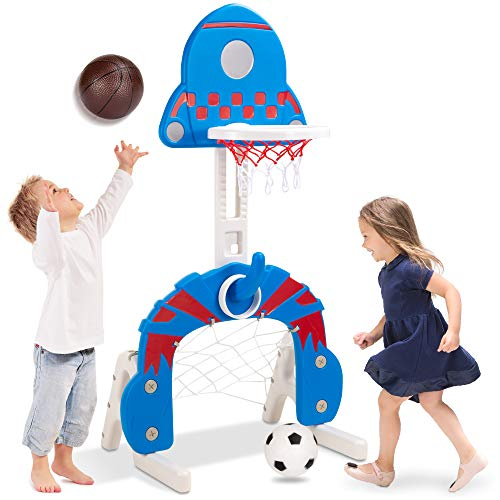 Best Choice Products 3-in-1 Toddler Basketball Hoop Sports Activity Center Grow with Me Indoor Outdoor Adjustable Play Set for Game Room, Kids, Children w/ Soccer Goal, Ring Toss