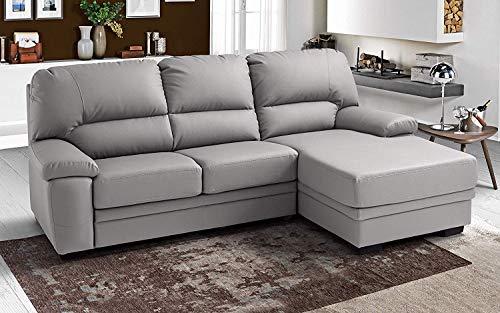 Dafne Italian Design Sofá cama de 3 plazas con chaise longue a la izquierda - Color gris pastel - 252 x 160 x 92 cm