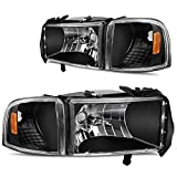 DWVO Headlight Assembly Compatible with 94-01 Dodge Ram 1500/1994 1995 1996 1997 1998 1999 2000 2001 2002 Dodge Ram 2500 3500 (Black Housing)
