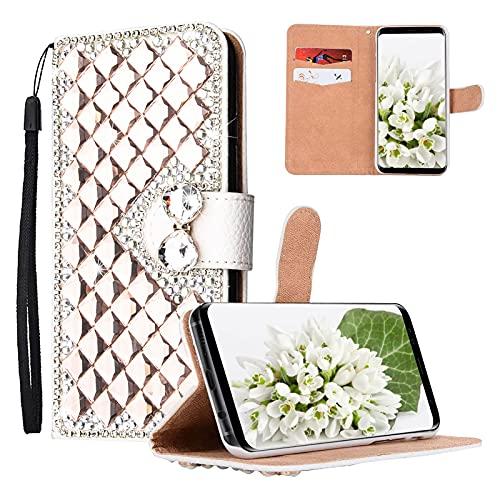 Yewos Kompatibel mit Samsung Galaxy A12 Hülle Glitzer Brieftasche für Mädchen,Roségold Strass 3D Diamant Handyhülle PU Leder Tasche Schutzhülle mit Karten Slots Stand,Magnetisch,Handschlaufe