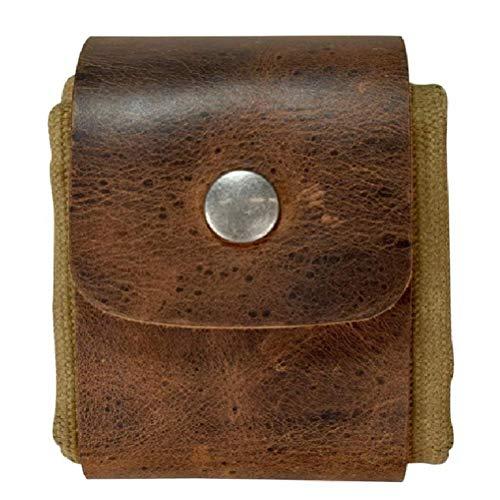 Gazaar Bolsa de lona plegable para senderismo, paquetes de cintura para recoger tesoros y conchas marinas, fácil de bucear alrededor de cinturones, acceso manos libres, cuero genuino, Brown