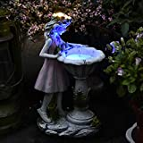 彫刻ジュエリーの花の妖精の太陽の装飾樹脂の天使フィギュア彫刻屋外ヴィラガーデンガーデニング装飾、LED照明,S
