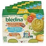 Blédina Petits Pots pour bébé, Dès 6 Mois, Tomates Riz Poulet / Légumes Pommes de terre Lieu / Légumes Bœuf, 24x200g (6 packs)