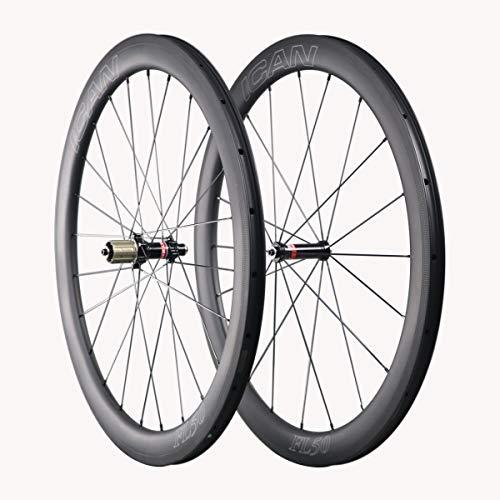 ICAN Carbon Road Fahrrad Laufradsatz 50mm Clincher Tubeless Ready Felge Novatec AS511SB/FS522SB Naben Sapim Speichen