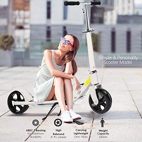 Hiriyt Kinder/Erwachsenen Roller mit 3 Sekunden Easy-Folding-System, 220lb Klapproller mit/ohne Scheibenbremse und 200mm großen Rädern