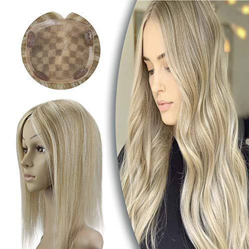 [Promocion]Sunny Hair Topper Mujer Peluca Highlight Rubias Extensiones de Clip de Pelo Natural Humano Toupee Una Pieza Remy Human Hair Mono Base 5x5 Pulgadas Mujer Peluca Pelo 20cm