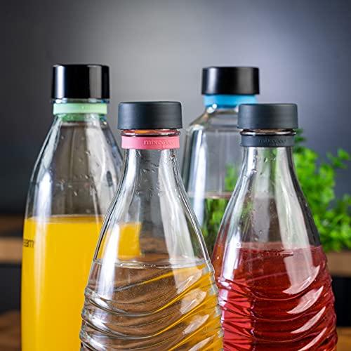 Mixcover Silikonring zum Markieren von Flaschen, kompatibel mit SodaStream Glasflaschen, Pinguin, Crystal und PET Plastikflaschen, nachhaltige Flaschenmarkierung