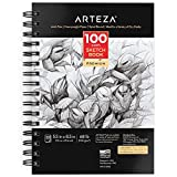 ARTEZA Sketch Book, 5.5 x 8.5 Inches, 3 Pack, 100 Sheets Each, Spiral-Bound 100 GSM Drawing Paper, Art Supplies for Graphite Pencil, Colored Pencil, Charcoal, & Soft Pastel