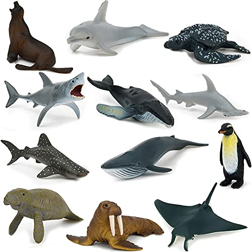 Sea Animal Toy Set 12 pcs Animal Sea Figures Ocean Toy for Kids  Realistic Set for Sea Lovers  Includes Great White Shark   Dolphin  White Shark  Whale for Age 3+