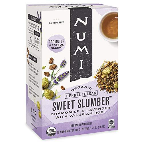 Numi Organic Tea Sweet Slumber with Chamomile, Valerian Root & Lavender, 16 Count Box of Tea Bags (Pack of 3) Herbal Teasan (Packaging May Vary)