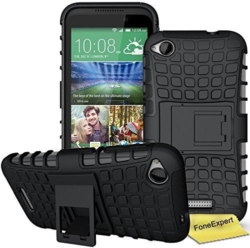 HTC Desire 320 Handy Tasche, FoneExpert® Hülle Abdeckung Cover schutzhülle Tough Strong Rugged Shock Proof Heavy Duty Hülle für HTC Desire 320 + Bildschirmschutzfolie (Schwarz)