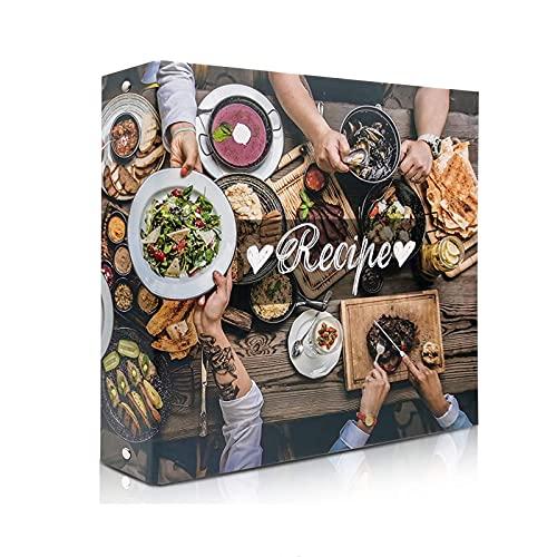 rnairni Recipes Book Binder Set | Recipe Organizer Binder & 20 Recipe Cards & 10 Dividers & 30 Plastic Page Protectors