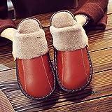YWSZJ Zapatillas de Cuero PU Hombres Pareja Piel Simple Piso de Madera Inicio Otoño e Invierno Deslizamiento Antideslizante e Impermeable Zapatillas de algodón (Color : Orange, Size : 38-39)