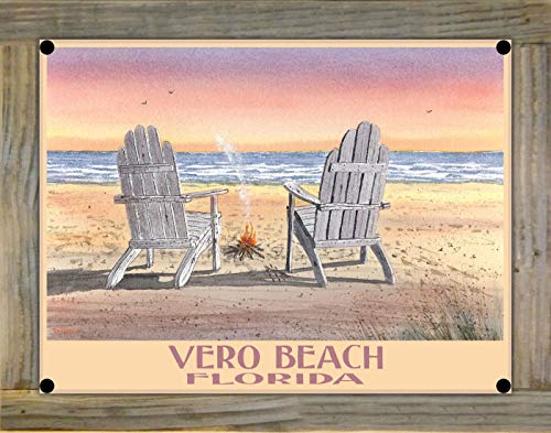 Northwest Art Mall Vero Beach Florida Adirondack Chairs Beach Metal Print on Reclaimed Barn Wood from Original Watercolor Painting by Artist Dave Bartholet 9' x 12'