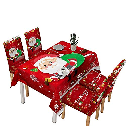 Tohsssik Christmas Tablecloth Chair Cover Set Christmas Decorations Manteles De Navidad, 55 x 71 inches Santa Tablecloth Oil-Proof and Waterproof & Christmas Chair Covers for Dining Room 4Pcs