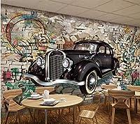 HGFHGD 壁を通して壁紙3d壁画レトロ車3dステレオレストランバー壁画テレビ背景壁紙壁アート装飾
