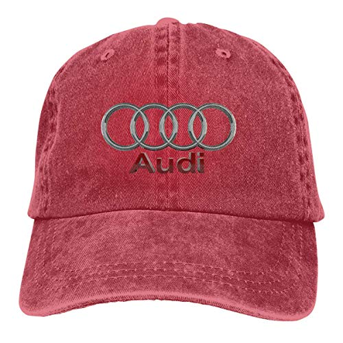 AASPOZ Men Women Vintage Adjustable Cap Audi Wallpaper Baseball Cap Hat, Red