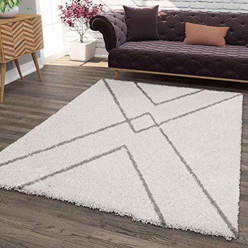 VIMODA Hochflor Teppich, Weicher Wohnzimmer Shaggy Skandinavischer Stil Raute, Maße:80x150 cm