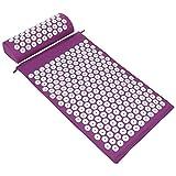 ValueHall Esterilla de Acupresión Kit - Estera de Acupresión + Cojín de Acupresión - Alivia el Dolor de Espalda y Cuello, Relaja los Músculos y Reduce el Insomnio V7009-1 (púrpura)