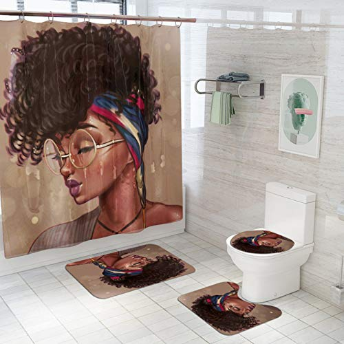 ZLWSSA Waterproof Shower Curtains Set Non Slip Sexy African Girl With Closed Eyes Pattern Toilet Polyester Cover Mat Set W150xH180cm