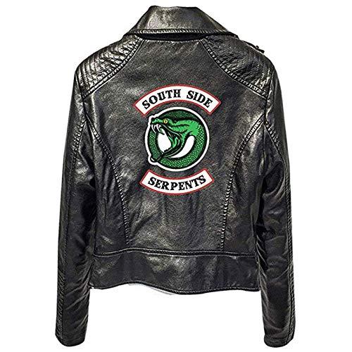 Milkkktt Chaqueta Riverdale Mujer Negro/Rojo Riverdale Southside Serpents Imprimir Chaquetas de Cuero de PU Negras, Chaqueta Riverdale Abrigo de Cuero Streetwear
