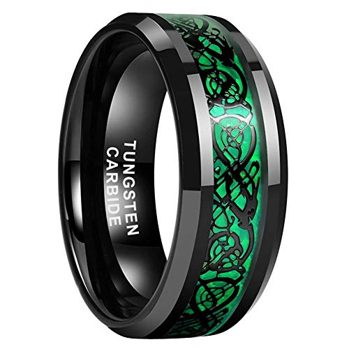 iTungsten 8mm Black Tungsten Carbide Rings for Men Women Wedding Bands Celtic Dragon Green Carbon Fiber Inlay Beveled Edges Comfort Fit