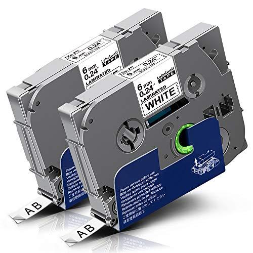 2x Labelwell Tzc-211 6mm Schwarz auf Weiß Kompatibel Schriftband Ersatz für Brother Tz Tze-211 Tze211 für Brother P-Touch Cube Plus PT-1000 PT-D400VP PT-H105 PT-D210VP PT-H110 PT-D600VP H107B H100LB