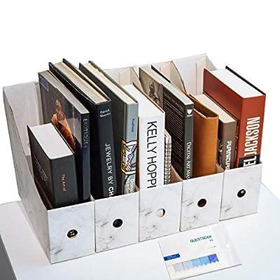 CAVEEN File Magazine Holder Cardboard Magazine Rack Files Folder Ultra-Modern Simple Style Files Filling Rack Box Paperwork Organiser Pencil Holder Desktop Stationery Storage Box with Post-it Note