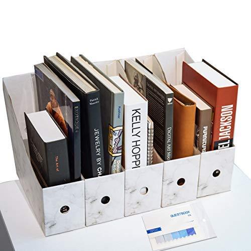CAVEEN Revistero Archivador de la Oficina Cartón Caja de Almacenamiento con Cédula Organizador de Documentos Papelería Revista Lápices Accesorios de Escritorio Cinco Piezas ⭐
