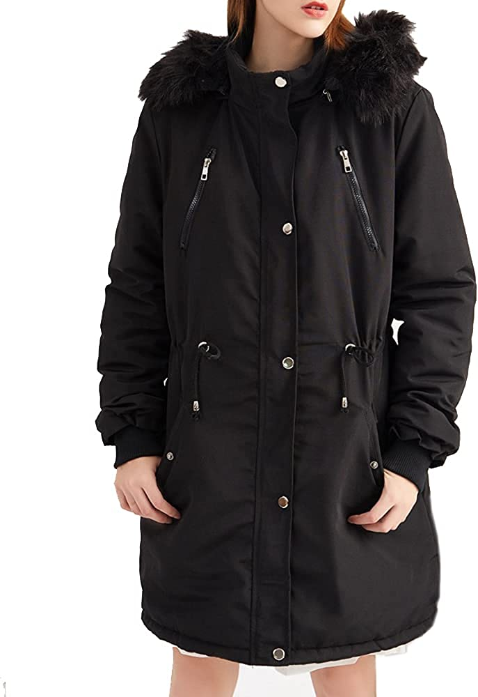 GZDMFS Womens Winter Parka Hooded Fur Lining Coat Military Jacket Thicken Warm Overcoat