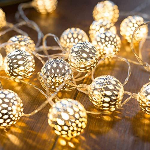 HJCC Marruecos Guirnalda Luces, 5M 50 LED Impermeable Cadena De Luces 2 Modos Operado con Pilas, para Balcón, Ventana, Fiesta, Boda, Navidad