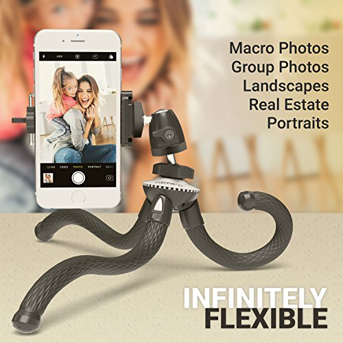Xenvo SquidGrip Flexible Cell Phone Tripod and Portable Action Camera Holder - Compatible with iPhone, GoPro, Android, Samsung, Google Pixel and All Mobile Phones