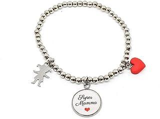 """Bracciale elastico perle acciaio con frase""""Super Mamma"""" cuore rosso e bambina"""