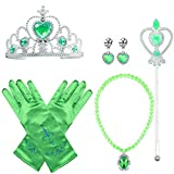 Yansion Princess Dress Up Party Costume Accessories Gift Set for Princess Cosplay Tiara,Wand and Gloves (Green)