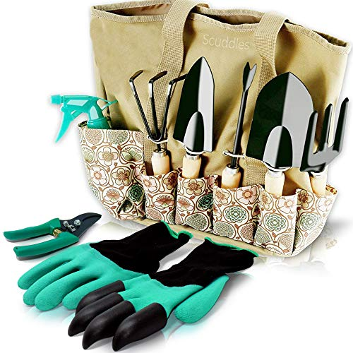 Scuddles Garden Tools Set - 8 Piece Heavy Duty...