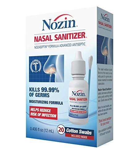 Nozin® Nasal Sanitizer® Antiseptic 12mL Bottle | Kills 99.99% of Germs | Lasts Up to 12 Hours | 60+ Applications | Think Hand Sanitizer for Your Nose®
