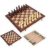 ISAKEN Juego de Ajedrez de Madera 3 en 1, Juegos de ajedrez y ajedrez y Juego de Tablero de ajedrez Plegable de Backgammon, Ajedrez de Viaje portátiles para niños Adultos 44x44CM
