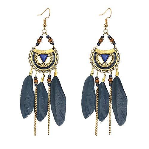 Pendientes para mujer, estilo étnico, estilo étnico, plumas largas, joyería y relojes para Navidad, San Valentín