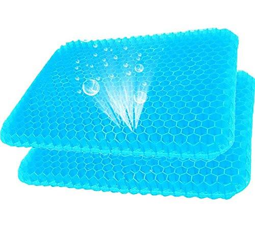 VIVILINEN Gelsitzkissen 2 Stück Wabe Gelkissen Atmungsaktiv Sitzkissen mit Anti-Rutsch-Bezug für Zuhause, Büro, Stuhl, Auto, Rollstuhl (Blau)
