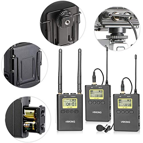 Voking WM220 UHF 100 Selectable Channels Wireless Dual Lavalier Microphone System, Includes 2X Bodypack Transmitter and Portable Receiver for Canon, Nikon and Sony DSLR Cameras and Camcorders